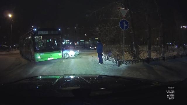 ДТП, Авария, Северодвинск, Ягры, автобус, подрезал